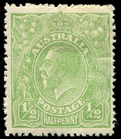 Lot 631:½d Green - BW #65(4)r White spot before 2 in right value tablet, Cat $35.