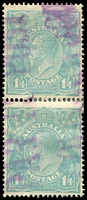 Lot 628:1/4d Greenish Blue - BW #128i vertical pair [1R11,17], top unit with Colour flaw in King's hair, Cat $120+. Undated 'PARCEL POST/COLLINGWOOD' (B3) cancel, nice pair.