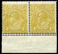 Lot 2223:4d Olive - BW #114b marginal pair with Double perforations at base [4L55-56], a few light tonespots, Cat $300+.
