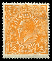 Lot 2828:½d Orange - BW #67 small hinge rem.