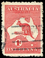Lot 143:1d Red Die IIA - [HR3] Damaged top to ST of AUSTRALIA, etc, woolly perfs.