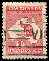 Lot 796:1d Red Die IIA [HL42] White flaw below LI of AUSTRALIA