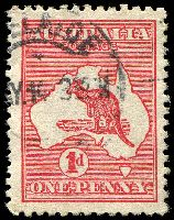 Lot 760:1d Red Die II [EL16] Colour dot joining line above LI of AUSTRALIA - State I