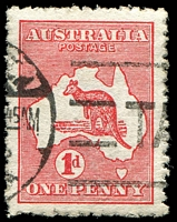 Lot 761:1d Red Die II [EL16] Colour dot joining line above LI of AUSTRALIA - State II broken shading line above PE of PENCE, rough perfs.