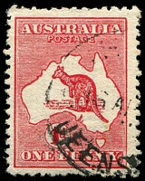 Lot 87:1d Red Die II BW #3a Wmk inverted, Cat $50.