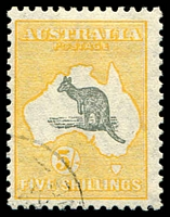 Lot 1036:5/- Grey & Yellow - BW #45w CTO, Cat $225.