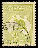 Lot 861:3d Olive Die II BW #13L, olive-green shade, Cat $250, cancelled with '[MAC]GILLIVRAY/?0AU21/[STH AUST]