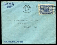 Lot 558:1934 Macarthur BW #159 3d blue, Cat $60, on Bushells cover locally used in Hobart on 22MAR1935.