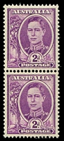 Lot 3228:1944-51 2d Purple KGVI Wmk CofA BW #228bd Coil perf pair, Cat $150.