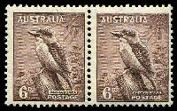 Lot 567:1937-60 6d Kookaburra BW #202d P13½x14 pair, left unit Curl over I of AUSTRALIA [ShA R2/1], Cat $100+. Very rare.