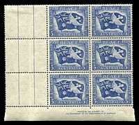 Lot 748:1946 Peace BW #237d left pane BLC Imprint vertical block of 6, 'H' flaw (colour joining left pair of vertical bars at right) [Sht C R4/2], varietal unit hinged.
