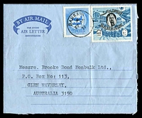 Lot 19145:1975 (Apr 22) use of 1966 40f and 1973 War Tax on formular air letter from Bahrain to Melbourne.