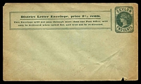 Lot 3835:1893-94 District Letter HG #B29 2c green, 'MILLINGTON & SONS...' embossing, minor aging, unused.