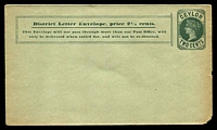 Lot 18629:1893-94 District Letter HG #B29 2c green, 'MILLINGTON & SONS...' embossing, minor edge aging, unused.