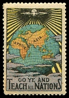 Lot 70:Go Ye And Teach All Nations: multicoloured with globe and dove, small gum faults.