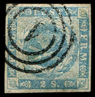 Lot 3884:1854-59 Spotted Spandrels SG #8 2s pale blue 4-margins, Cat £85.