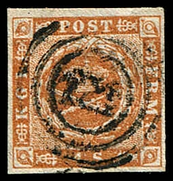 Lot 3664:1854-59 Spotted Spandrels SG #9a 4s orange-brown Type I, 4-margins, Cat £18, with '121' of Kiel.