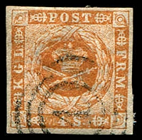 Lot 3391:1854-59 Spotted Spandrels SG #10 4s yellow-brown Type II, 4-margins, Cat £17.