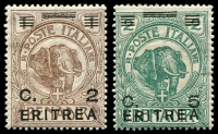 Lot 3700:1922 Surcharges on Somaliland SG #57-8 2c on 1b & 5c on 2b, Cat £16.