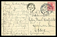 Lot 21678 [1 of 2]:1909 (Oct 16) us of 10f Germania on PPC of Gibraltar, cancelled with fine 'DEUTSCHE SEEPOST/OST-/ASIATISCHE/HAUPTLINIE/17\/10/09 c' (A1), used on the Prinz Ludwig. framed 'GIBRALTAR/C/16/OC/09' transit on address side.