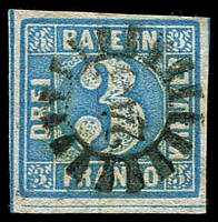 Lot 19963:1849-62 Cut Circle Numerals Mi #6 3k blue, 4-margins.