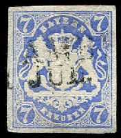 Lot 19965:1870-73 Arms Wmk 14mm Wide Mesh Mi #56B 7k pale blue 4-margins, Cat €49.