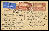 Lot 4106:1934 1½d Brown View HG #31 uprated with 1½d brown View for 1936 (Sep 28) use airmail to London. A scarce card in fresh condition.