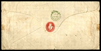 Lot 3576 [2 of 2]:1855 large stampless cover from Hinchley Council (red seal on flap) to the Hinchley Churchwarden, poor red crown Paid of DE14/1855 on face and green 'HINCHLEY/[DE]