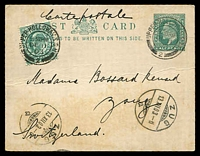 Lot 4071:1902 KEVII HG #29a ½d blue-green on thick white card, (Huggins & Baker #CP42), uprated with ½d blue-green, 1903 use to Zug, Switzerland.