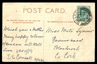 Lot 20881 [1 of 2]:Dalkey: double-circle 'DALKEY/PM/530/DE31/03' on ½d KEVII on PPC of 'Pavilion and Gardens. Kingstown.' to Blackbrook, Cork.