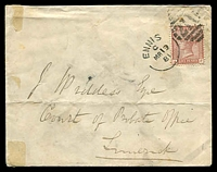 Lot 20884 [1 of 2]:Ennis: unframed duplex 'ENNIS/C/MR19/81 - 211' on 1d Venetian red on unsealed cover to Limerick, a little soiled.