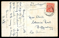 Lot 3840 [1 of 2]:Omagh: double-circle 'OMAGH/6-PM/11SP/26/+' on 1d KGV on coloured PPC of 'Baronscourt, near Omagh.' to Ballymoney.