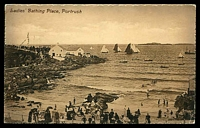 Lot 3591 [2 of 2]:Portrush: framed 'PORTRUSH/8AM/JY17/12' on ½d KGV on sepia PPC of 'Ladies' Bathing Place, Portrush' to Scotland.