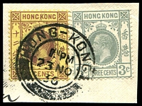 Lot 3622:1921-37 KGV Wmk Mult Script CA SG #124b,119 12c purple/yellow and 3c grey, on 1936 piece.