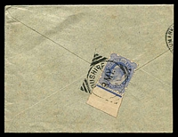 Lot 4186:1898 (May 3) use of 2a6p ultramarine KEVIII, SG #Z159 on cover to Bombay reduced at left.