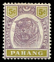 Lot 4383:1895-99 Tiger SG #16 5c dull purple & olive-yellow, crease, Cat £55.