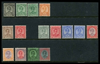 Lot 4313:1935-41 Sultan Sir Abu Bakar SG #29-44 set to $1, excl 10c, 6c MUH others mainly hinged, Cat £120. (15)