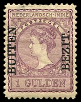 Lot 4394:1908 'BUITEN/BEZIT.' Ovpts SG #176 1g dull lilac P11x11½, small thin & light crease, Cat £85.