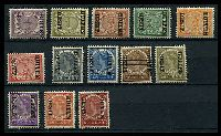 Lot 26162:1908 'BUITEN/BEZIT.' Ovpts SG #160a-175a complete set to 50c Ovpt inverted, excl 22½c, Cat £170. (13)