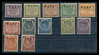 Lot 4026:1908 'JAVA.' Ovpts SG #142a-157a set to 50c Ovpt inverted, excl 15c, Cat £140. (12)