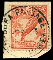Lot 23379:Buka Passage (2) 'BUKA PASSAGE/2SE33/N[EW G]UINEA' on 2d Undated Bird.  PO c.1925; closed c.-/1/1942.
