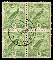 Lot 4402:Bulolo 'BULOLO/23JU32/NEW GUINEA' (#120) on 1d Dated Bird block of 4.  PO 15/3/1932; closed 11/2/1942.