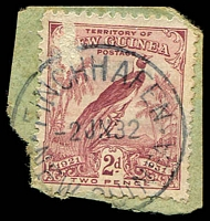 Lot 23380:Finschhafen (3) 'FINCHHAFEN/2JY32/NEW GUINEA' on 2d Dated Bird. [Rated C]  PO c.-/6/1922; closed c.1942.
