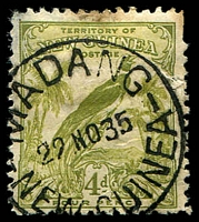 Lot 4403:Madang 27mm 'MADANG/29NO35/NEW GUINEA' (P24) on 4d Undated Bird (faults).  Renamed from Friedrich Wilhelmshafen PO c.-/4/1915; closed 12/2/1942.