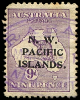 Lot 4404:Rabaul violet triple-oval 'RABA[UL]/JUN 8 -1[?]/NEW BRIT[AIN]' on NWPI 9d 1st Wmk [2L2], rounded corner.  Renamed from Simpsonhafen PO c.-/4/1910; closed 23/1/1942.