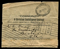 Lot 1305:Broken Hill: - oval 'NEWSPAPER POSTAGE AT BROKEN HILL/29MR38/N.S.W' on part wrapper for 'Community', nice 'SYDNEY/7PM11AP38/N.S.W.27' roller cancel on face.  PO 1/1/1886.