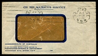 Lot 6219:Newcastle: - red 'NEWCASTLE/JE1/11-30A/1931/N.S.W' continuous machine on cover. Used as Paid canceller.  PO 1/3/1828.