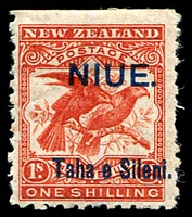 Lot 26053:1903 Overprints SG #16 'NIUE./Taha e Seleni.' on NZ 1/- bright red Bird, imperf at top from edge of sheet, part OG, Cat £40.