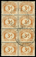 Lot 24114:1960 Postal Charges SG #D8 3d block of 8, light againg, cancelled with 'PARCELS OFFICE/24NO60/RABAUL' (A1).