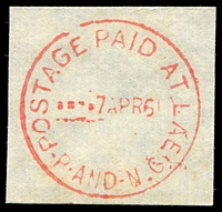 Lot 4241:Lae 'POSTAGE PAID AT LAE/---7APR61/P-AND-N.G' in red.  PO 1/3/1946.